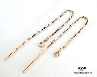10 pcs Ear Threader Box Chain 14K gold Filled 80mm Long F436GF