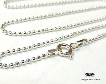 24 inch Italy 925 Sterling Silver Ball Chain 1.5mm Finished Necklace FC10