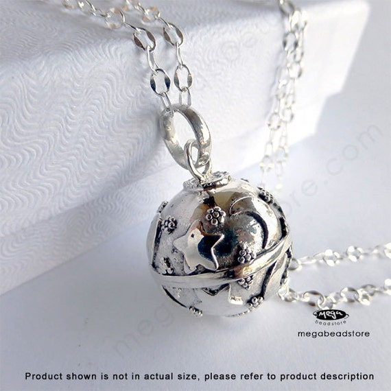 "Maternity Necklace 16mm Mexican Bola Harmony Ball Moon and Star 36"" Chain P51CH67"