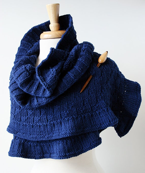 Rococo Hand Knit Shawl - Luxurious Merino Wool Wrap - Women's Fall Winter Scarf Fashion - Navy Blue