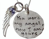 Hand Stamped Jewelry - You Were My Angel, Now I Am Yours Necklace - Wing Charm
