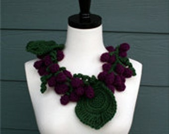 Crochet Scarf Pattern, Vineyard, Grape Vine