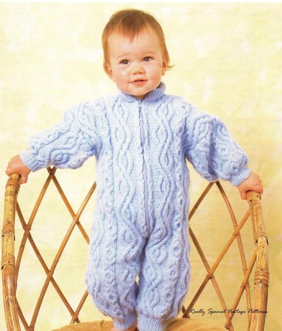 Baby Onesie Knitting Pattern : Baby Onesie Snowsuit Aran Vintage knitting by PamoolahVintage