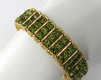 Rhinestone Cuff Bracelet Three rows Green Rhinestones, 24k gold plated seed beads Olive Green, OOAK, Beaded Jewelry-Beaded Bracelet