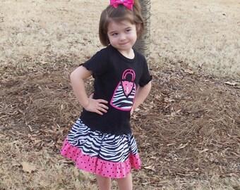 Zebra Purse Applique T-shirt and Twirl Skirt Set