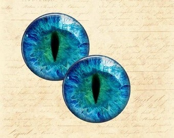 Pair of Blue Cat's Eye Handmade Cabochons - Choice of 18mm, 20mm and 25mm Round