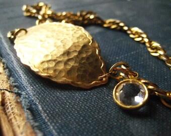 gold bracelet, brass leaf,  textured brass, vintage chain, hammered brass, vintage crystal, ornate hook, womens jewelry, candies64