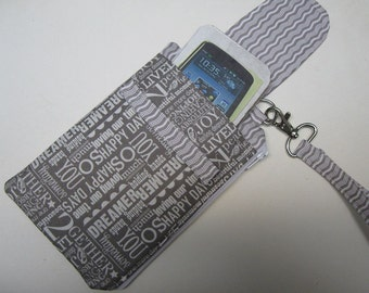 Women's Small Wristlet Wallet or Bag with Smart Phone Pocket Words to Remember Fabric