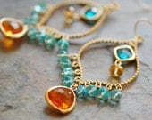 Gemstone Chandelier Earrings, Apatite, Citrine, Glass, Orange Aqua Gold 14K GF Ear Wires, Hill Country Collection
