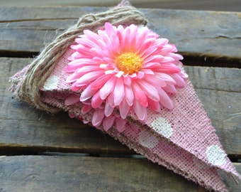 Pink on Pink Floral Burlap Banner, Photo Prop, Wedding, Children, Kids, Baby, Nursery, Birthday Party