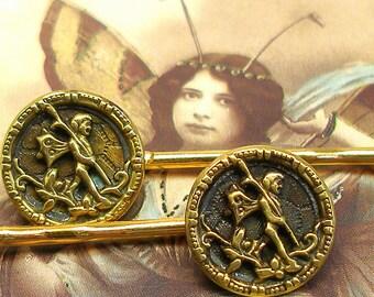 Faery 1800's BUTTON hair pins, Victorian fairies on gold bobby pins, hair grips.