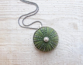 Green Sea Urchin Sterling Silver Necklace, Sea Lovers Gift, Mermaid Necklace, Beach Jewelry
