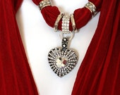 Ruby Red Scarf Jewelry Pendant Scarves With Pendants Diamante Heart