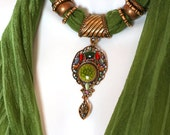 Beaded Scarf With Charms Ceramic Pendant Scarves Irish Moss Green Scarf Necklace