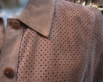 Sale Vintage 1970s Tan Fitted Suede Lord and Taylor Lady Jacket PXS Perforated Leather Gift epsteam