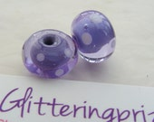 Lampwork Beads Floating Purple Polka Dot Pair UK