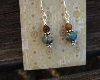 Natural Stone & Silver Earrings