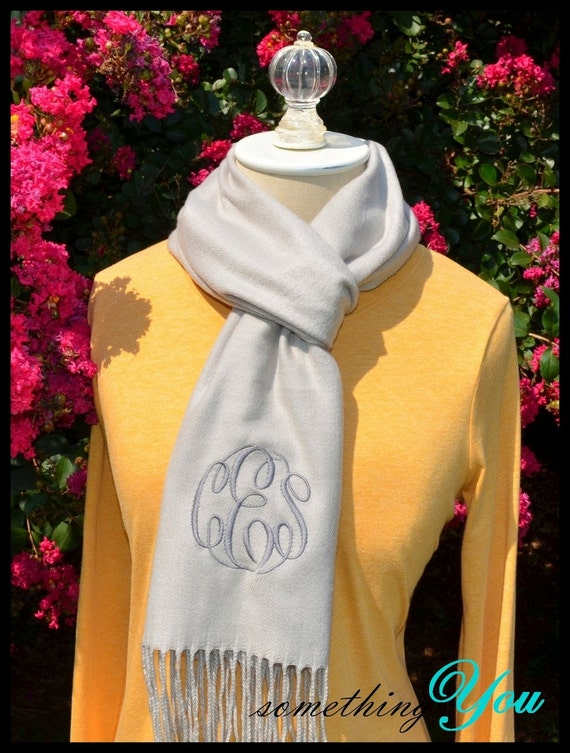 Monogrammed Scarf Millenium Silver Circle Script Womens Personalized Scarves - Cashmere Feel Initials warm light grey gray pewter