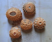 Miniature Art, Folk Art, Crochet Lace Pebbles, Small, Collection of 5, Original, Handmade, Tiny Thread, Table Decorations