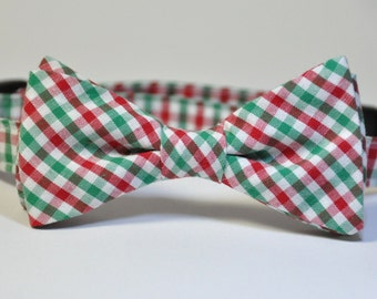 Christms Bow Tie for Boys Red and Green Plaid Boy's