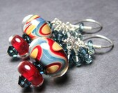 Colorful  boro bead earrings  lamp work beads sterling silver Swarovski crystals handmade ear wires  -  CIRCUS TENT