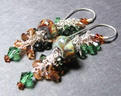Boro bead earrings  lampwork beads sterling silver Swarovski crystals handmade ear wires  - TREE
