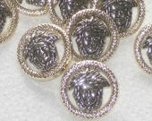 Medusa Set 12 BOTH SiLVeR & GoLd  new Buttons PIERCED 7/8""