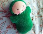 Waldorf doll, pocket baby, Green germandolls doll in blanket cloth doll rag baby shower gift Steiner doll