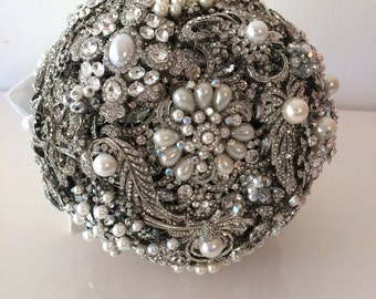 Lillybuds The Lavish Silver and Pearl Wedding  Bouquet of Brooches Heirloom Bouquet.