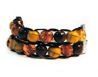 Autumn Colors with Gold clasp - Ablet Knitting Abacus - Row Counter Bracelet