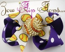 Softball Hair Bow - Purple and white or any color- Softball Bling Baseball rhinestone Clip Custom match team