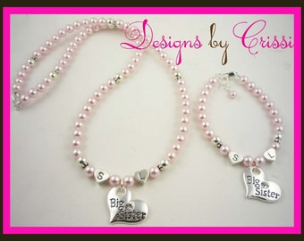 Big Sister Pearl Initial Name Necklace Bracelet Set , Big Sis or Little Lil Sis silver charm, pink or white pearls or choose your colors