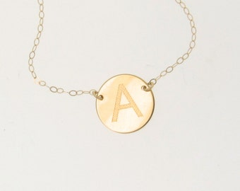 Gold Initial Necklace or Bracelet Engraved - Personalized Jewelry, Pendant Disc, Disk, 14K Yellow, Rose, or White Gold Reese Witherspoon