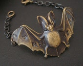 Gothic, Vampire, Jewelry, Bracelet, Flying Bat, BITE ME, Handmade, Custom Dark Patina, Stamped Jewelry, Hearts Embellishing Wings With Love