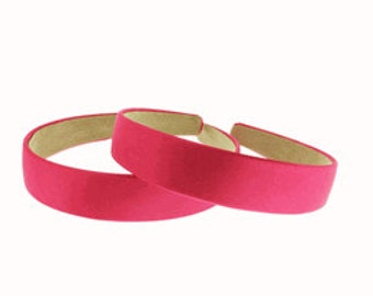 "2 pieces-25mm (1"") Satin Covered Headband in Shocking pink"