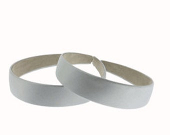 "2 pieces - 25mm (1"") Satin Covered Headband in Silver"