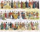 Steam Punk Era.Paris.French.Antique.Costumes.Dress.Colourful.Twenties.Victorian.Home Deco.office.den.mom.gift.vintage.retro.eco.art.top hat