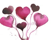 "Watercolor Valentine hearts: ""Chocolate Raspberry Valentine"""