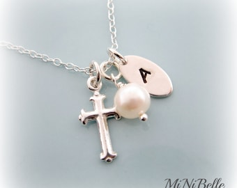 Personalized Initial Necklace. Cross Necklace. First Communion. Baptism. Christening. Customized Sterling Silver Necklace