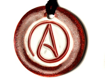 Atheist Symbol Ceramic Necklace in Shimmering Red