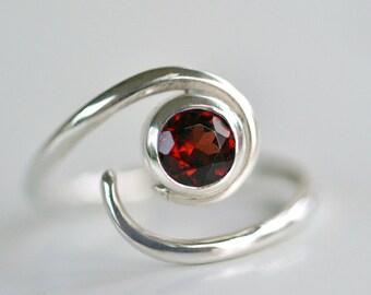 Engagement Ring - Alternative Engagement Ring - Garnet Solitaire Ring - Gemstone Ring - EcoFriendly - Red Garnet - Birthstone Ring R4078