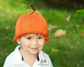 Young Child  / Hand Knit Pumpkin Hat with FREE USA S&H