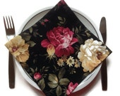 Black Floral Fabric Dinner Napkins Eco Friendly 100% Cotton Napkins Roses - set of 4