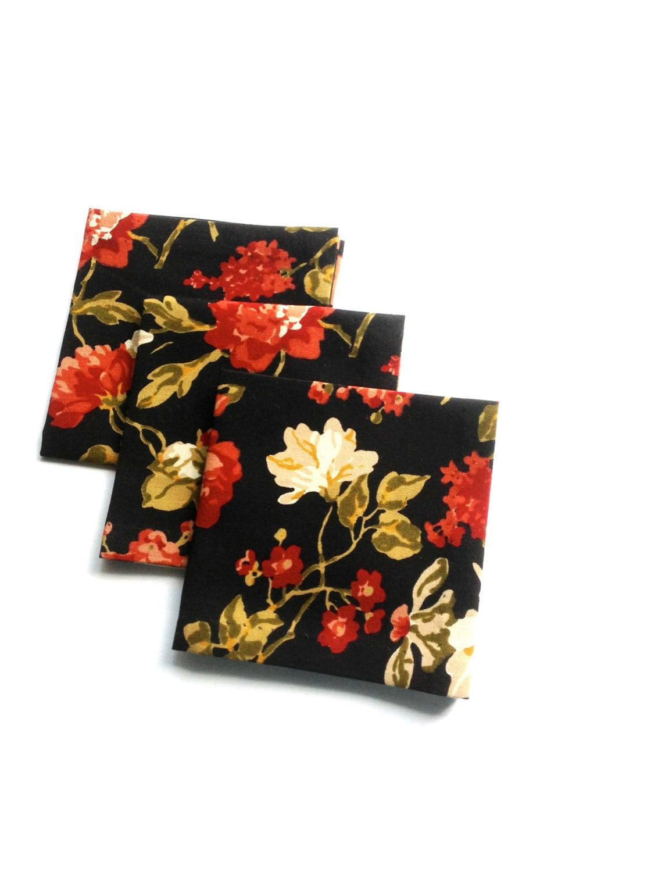 Black Cocktail Napkins : Black floral fabric cocktail napkins beverage eco