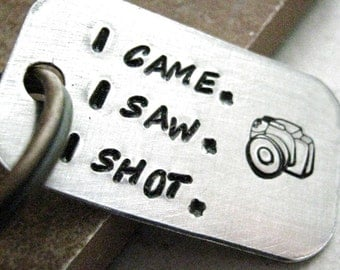 I Came I Saw I Shot Camera Keychain, wedding photographer gift, photography keychain, photographer keychain, optional initial disc