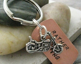 MOTORCYCLE Keychain, Rather Be Riding, biker's keychain, optional personalized disc, see pics for example, motorcycling, bike riders