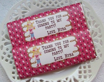 Printable Personalized Cowgirl Birthday Large Candy Bar Wrappers