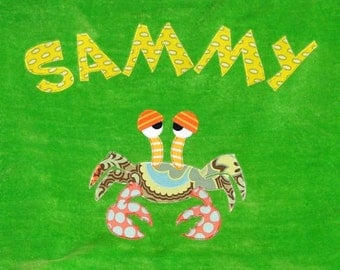 Personalized Large Lime Green Velour Beach Towel with Funny Crab, Bath Towel, Pool Towel, Baby Towel, Kids Towel, Camp Towel, Swim Towel
