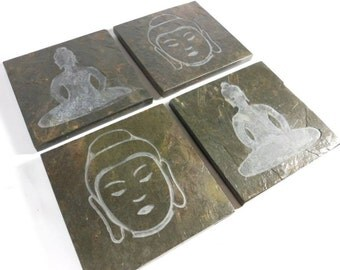 Stone Coasters: Buddha Coasters, 4 Etched Slate Coasters, Buddha Decor, Carved Slate Coasters Natural Drink Coasters Buddha Decor Decoration