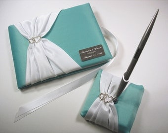 Personalized Wedding Guest Book and Pen Set in Robin's Egg Blue and White with Linked Hearts and Engraving